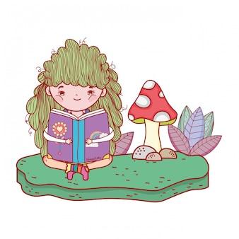 Glückliches buch des kleinen mädchens leseim garten
