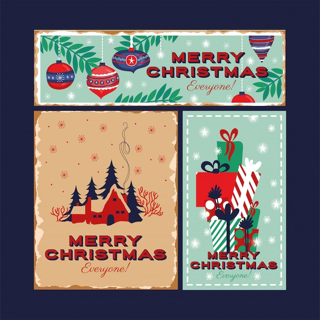 Glückliches bündel der frohen weihnachten karten