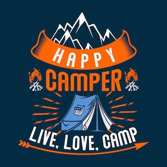 Glückliches camper live love camp