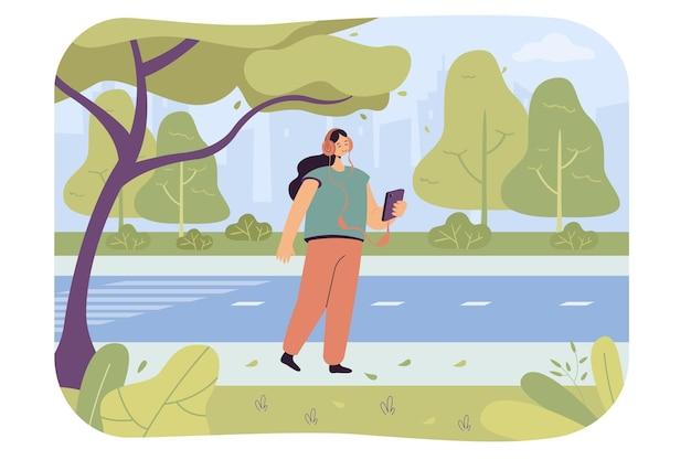 Glückliches cartoon-mädchen, das auf der straße musik am telefon hört