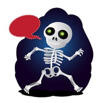 Glückliches cartoon-skelett läuft mit sprechblase. vektor-illustration zu happy halloween isoliert auf weißem hintergrund