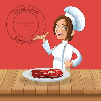 Glückliches chef- oder kochikonenbild