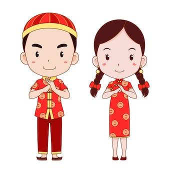 Glückliches chinesisches neues jahr mit netter paarkarikatur im chinesischen traditionellen kostüm.