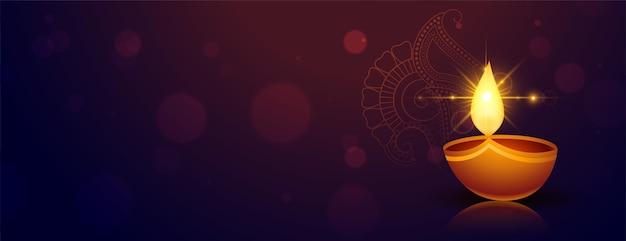 Glückliches diwali-banner im indischen stil mit copyspace