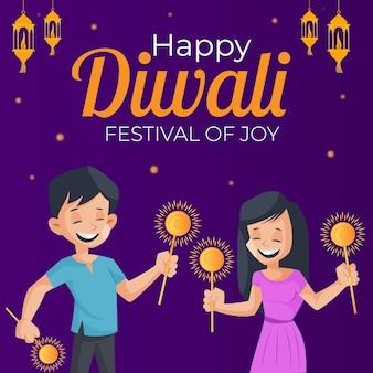 Glückliches diwali-banner mit jungen und mädchen hält funkeln in händen