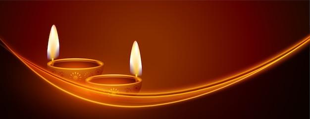 Glückliches diwali-banner mit leuchtendem lichtstreifenentwurf