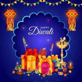 Glückliches diwali, bhai dooj, geschenke, diya, dhanteras, cracker, feier, verkauf
