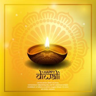 Glückliches diwali, das mit diya kerze grüßt