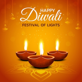 Glückliches diwali-design mit diya-öllampenelementen auf orangefarbenem hintergrund, funkelnder effekt