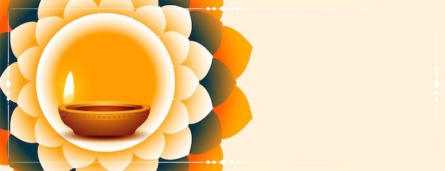 Glückliches diwali diya und blumendekorationsbanner