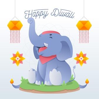 Glückliches diwali-ereignis mit flachem elefantenentwurf