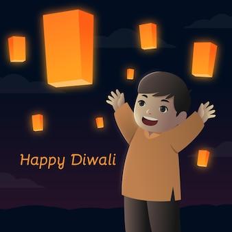 Glückliches diwali-ereignis mit kinderflachdesign