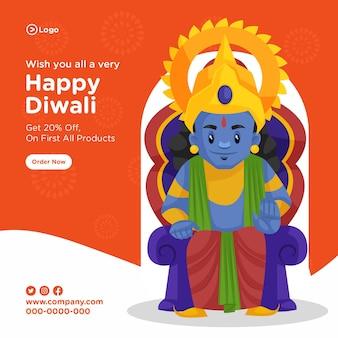 Glückliches diwali-fahnenentwurf mit karikaturillustration von lord rama, der auf thron sitzt