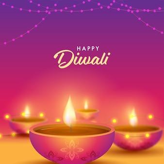 Glückliches diwali-feier-konzept mit beleuchteten öllampen
