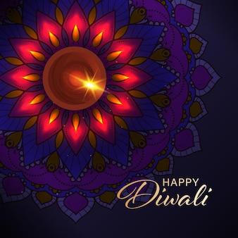 Glückliches diwali-feier-konzept mit draufsicht der beleuchteten öllampe (diya) auf lila rangoli oder mandala-muster-hintergrund.