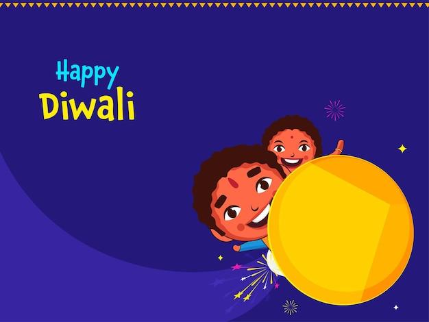 Glückliches diwali-feier-konzept mit fröhlichen kindern über rakete auf blauem hintergrund.