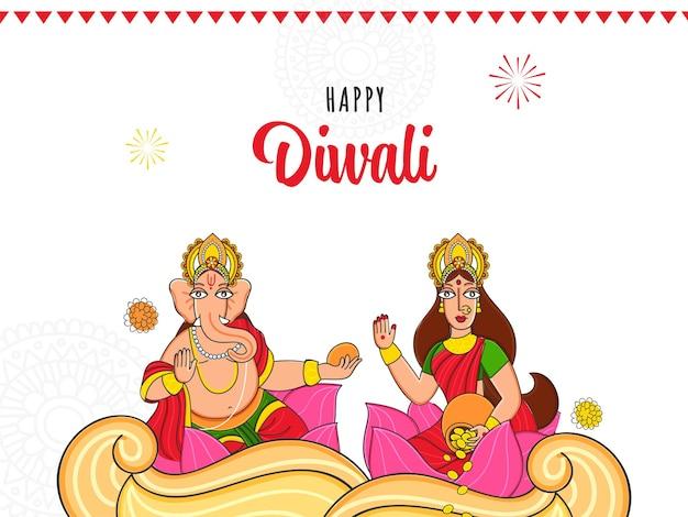Glückliches diwali-feier-konzept mit illustration von lord ganesha und göttin lakshmi-charakter auf weißem baclground.