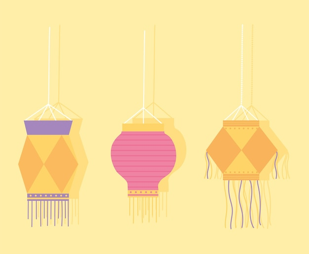 Glückliches diwali-fest, dekorative hängelampen.