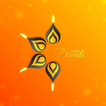 Glückliches diwali-fest des licht- und öllampenhintergrunds