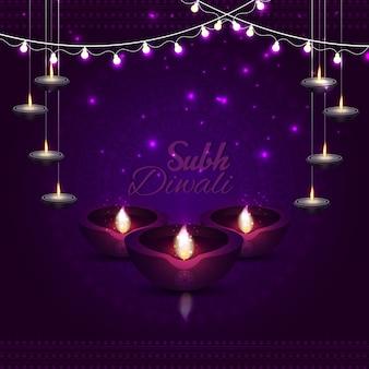 Glückliches diwali-fest des lichts mit glänzendem blauem hintergrund