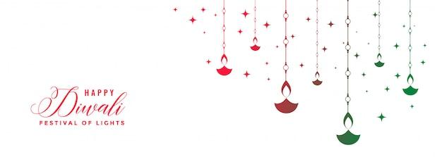 Glückliches diwali festival bunte diya weißfahne