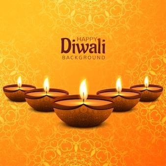 Glückliches diwali festival mit dekorativem öllampenfeierkartenhintergrund