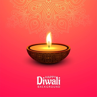 Glückliches diwali festival mit öllampenfeierkartenhintergrund