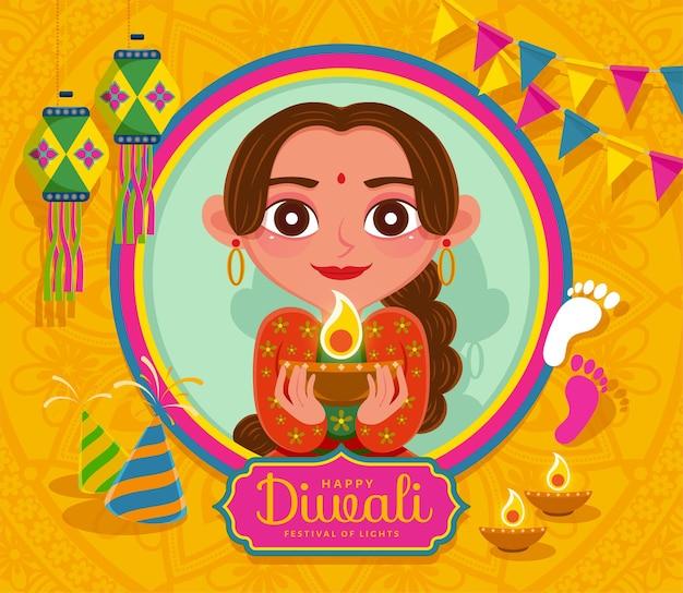 Glückliches diwali-festival mit schöner frau, die öllampe auf gelbem hintergrund im flachen stil hält