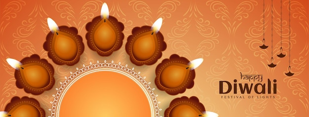 Glückliches diwali-festivalbanner mit schönem lampenvektor