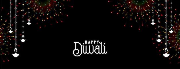 Glückliches diwali feuerwerksfahnenentwurf mit diya