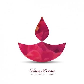 Glückliches diwali karte in rosa farbe