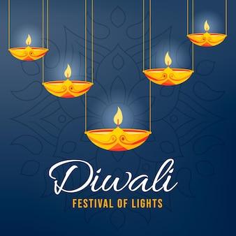 Glückliches diwali-konzept im flachen design