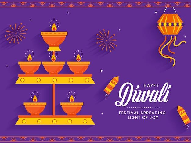 Glückliches diwali-konzept mit leuchtöllampen (diya), laternenaufhängung und feuerwerksraketen auf lila feuerwerkshintergrund.