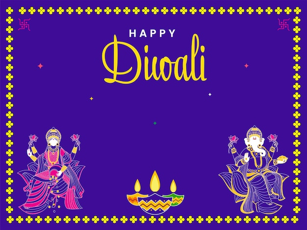 Glückliches diwali-konzept mit lord ganesha, göttin lakshami-statue und beleuchteten öllampen (diya) auf lila hintergrund.
