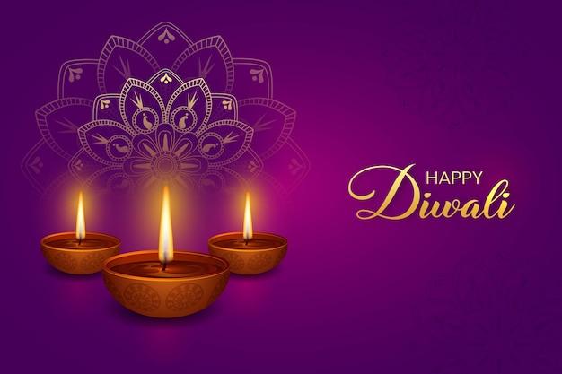 Glückliches diwali. lila hintergrund mit diwali brennende diya-elemente und mandala, rangoli-vektoren