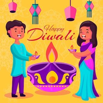 Glückliches diwali-paar des flachen entwurfs, das kerzen hält