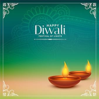 Glückliches diwali schöner hintergrund mit realistischem diya