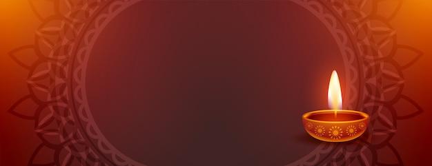 Glückliches diwali schönes banner mit diya und textraum