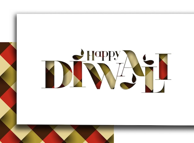 Glückliches diwali-textdesign. abstrakte vektorillustration.