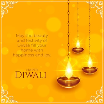Glückliches diwali wünscht hintergrund mit glänzendem diya