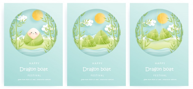 Glückliches drachenboot-festivalkartenset mit reisknödeln und bambusbäumen, bunter hintergrund. papierschnitt.
