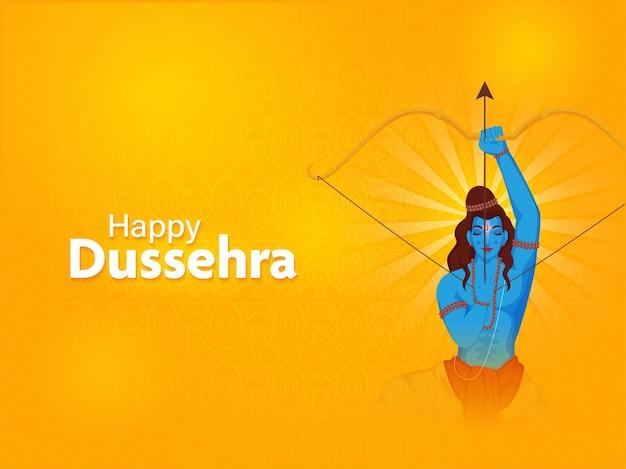 Glückliches dussehra-feier-konzept mit hinduistischer mythologie lord rama, der ein ziel auf orange blumenhintergrund nimmt.