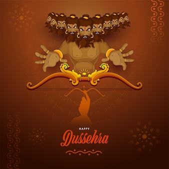 Glückliches dussehra-feierkonzept mit dämon ravana, der von lord rama auf braunem hintergrund getötet wurde.