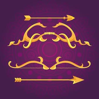 Glückliches dussehra-fest mit goldenen pfeilen der dekoration