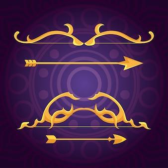 Glückliches dussehra-fest mit goldenen pfeilen im lila hintergrund