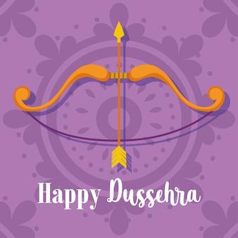 Glückliches dussehra festival von indien, bogenpfeil lila hintergrund traditionelles religiöses ritual
