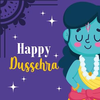 Glückliches dussehra festival von indien, karikaturlord rama traditionelle religiöse ritualkultur
