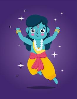 Glückliches dussehra festival von indien, lord rama cartoon, traditionelles religiöses ritual