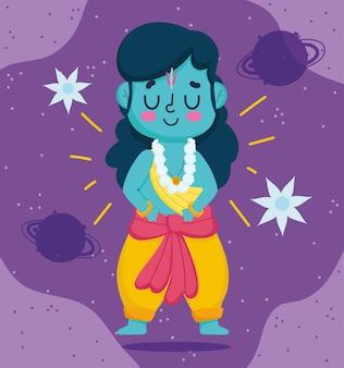 Glückliches dussehra festival von indien, lord rama zeichentrickfigur, traditionelles religiöses ritual