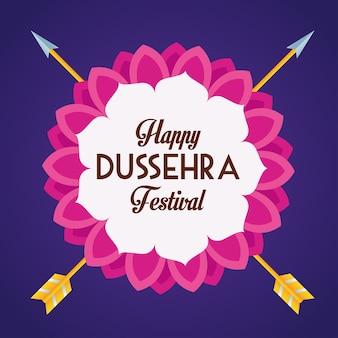 Glückliches dussehra festivalplakat mit gekreuzten pfeilen im blauen hintergrund